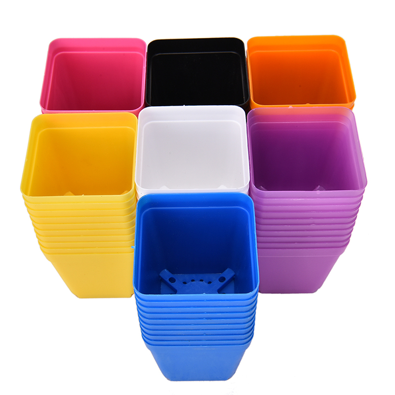 10pcs 7 colors square plastic plants pot nursery pots. Black Bedroom Furniture Sets. Home Design Ideas