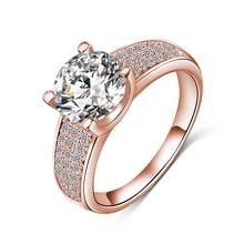 2014 nieuwe aankomst eenvoudige stijl vinger ring18k goud / platina plaat micro inlay zwitserse kubieke zirkoon sieraden ringen groothandel cri0010