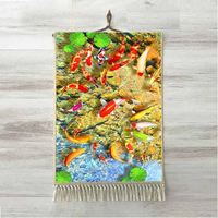 Else Tropical White Orange Aquariums Fishes Floral 3D Print Decorative Gift Wall Art Rope Hanging Rug Carpet Tasseled Tapestry