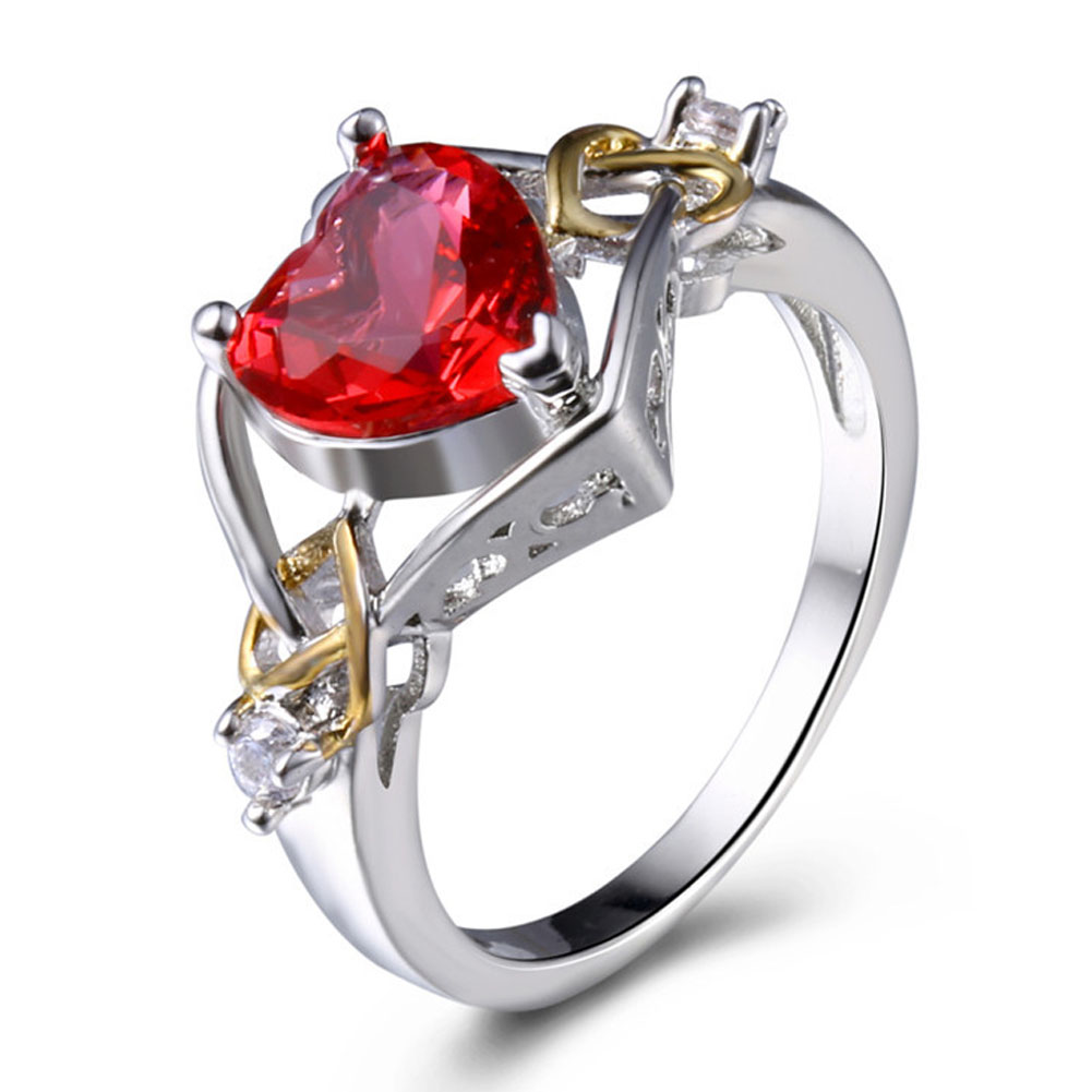 Rings Stone Fashion-Accessories Heart-Shaped Engagement Party Vintage Women for Jewelry
