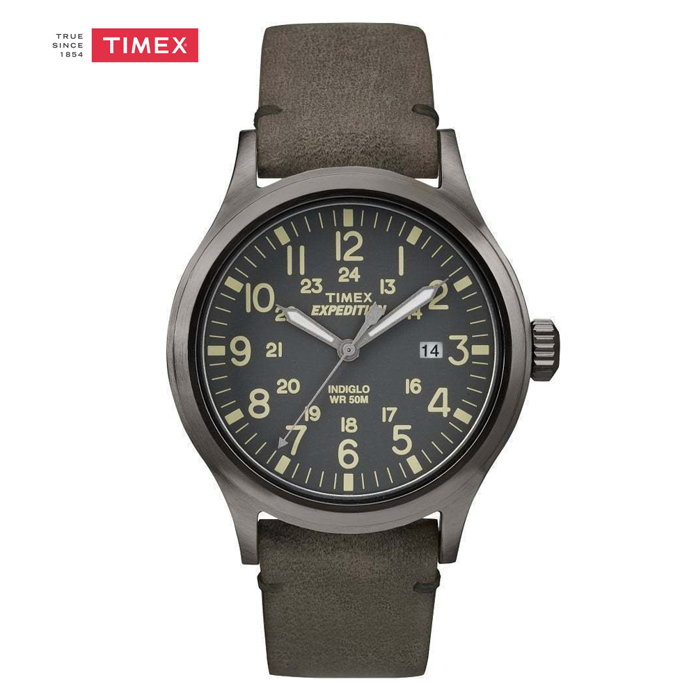 buy timex expedition scout 43 tw4b06700 indiglo luminous leather strap calendar. Black Bedroom Furniture Sets. Home Design Ideas