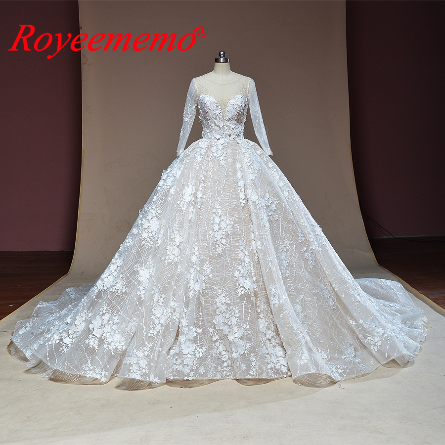 2019 luxury design Ball Gown 3D flower lace wedding dress long sleeve Royal train bridal dress