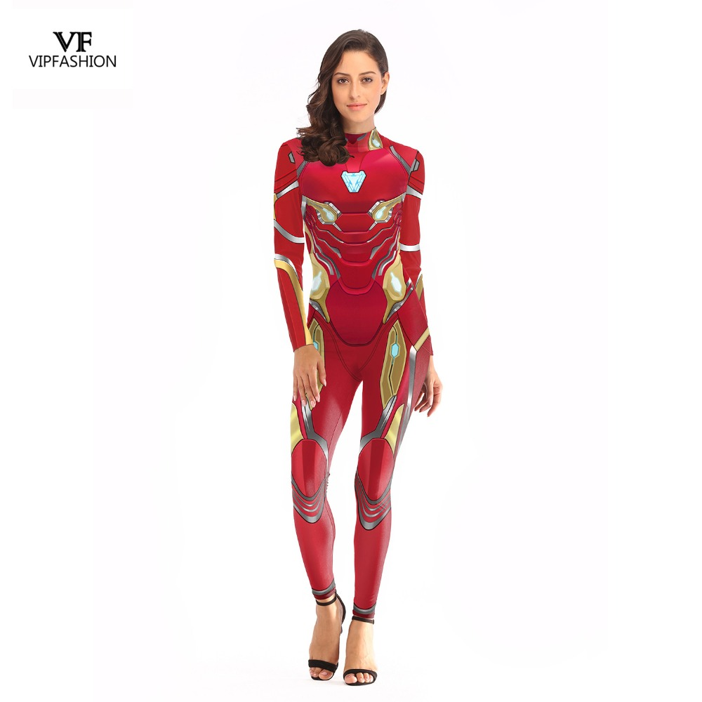 VIP FASHION 2019 New Arrival Cosplay Bodysuit Women 3D Avengers Super Hero Iron Man Printed Movie Long sleeve Plus Size Costumes