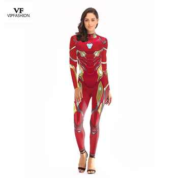 VIP FASHION 2019 New Arrival Cosplay Bodysuit Women 3D Avengers Super Hero Iron Man Printed Movie Long sleeve Plus Size Costumes - DISCOUNT ITEM  50% OFF All Category