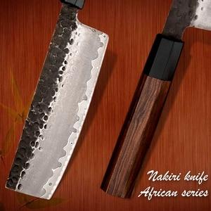 Image 4 - Nakiri סכין יד מזויף מטבח סכיני יפני AUS10 3 שכבה פלדה טבעי עץ סביבתי מוצר Grandsharp סכיני שף
