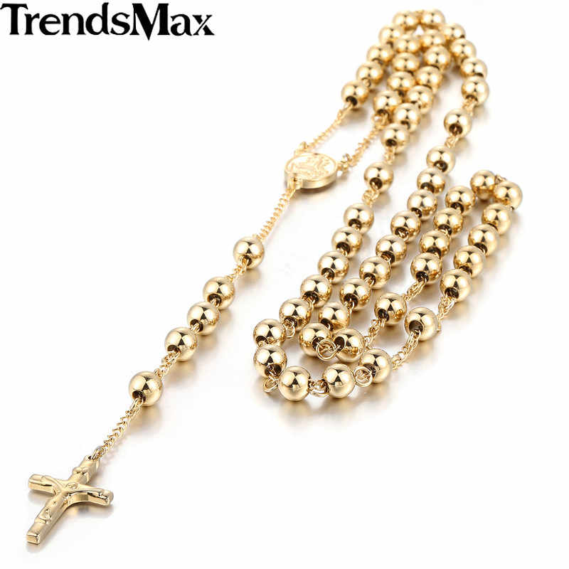Trendsmax Mens Chain Stainless Steel Bead Chain Rosary Jesus Christ Cross Pendant Long Necklace KN375-KN383