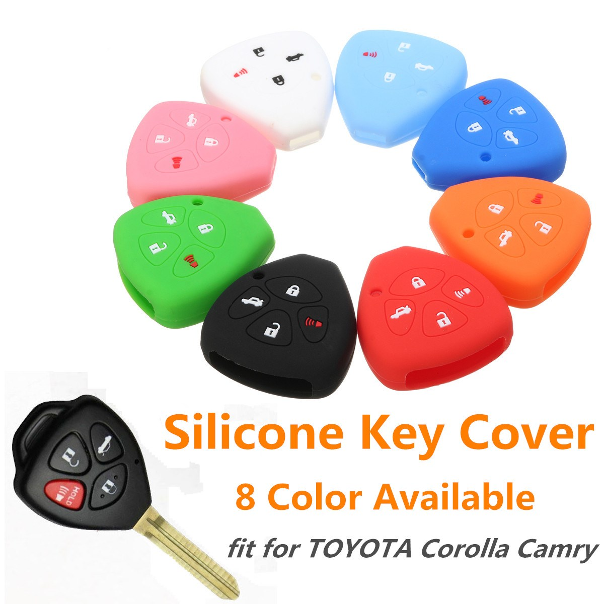 цена на 4 Button Silicone Car Keyless Remote Key Case Shell Cover For TOYOTA Corolla Camry