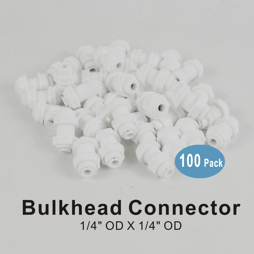 Straight Connect Fittings for RO Water Purifier uxcell Quick Bulkhead Connector 1//4 to 1//4 35mm White 2Pcs