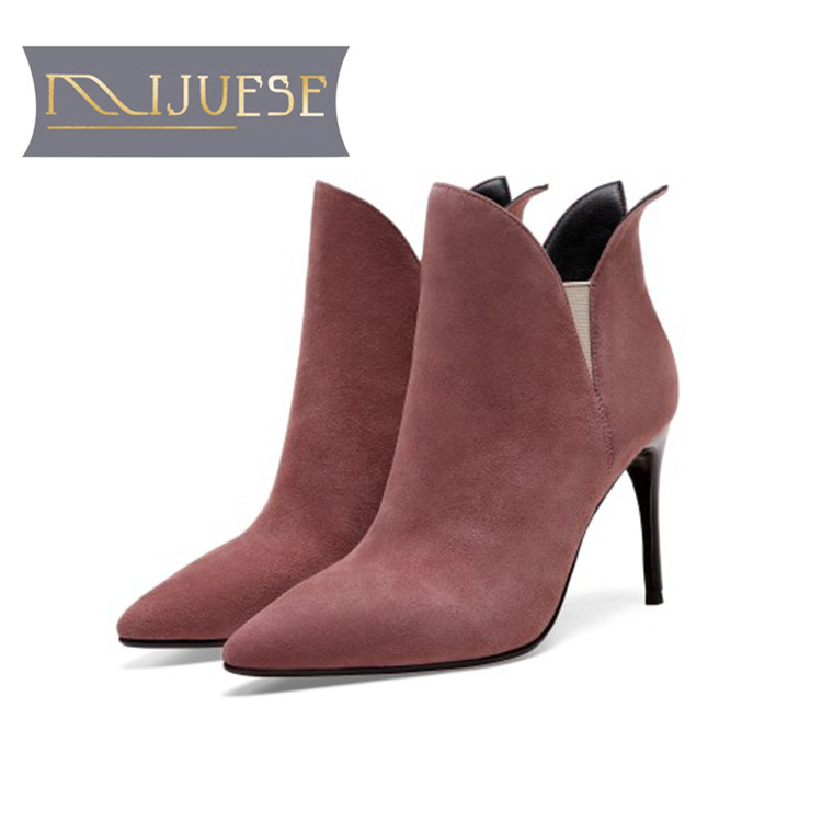 MLJUESE 2019 women ankle boots Kid Suede slip on zippers pointed toe autumn spring thin heel high heels women martin boots floral female kid suede high heel shoes genius leather martin boots punk ankle boots thin heels women pointed toe booties