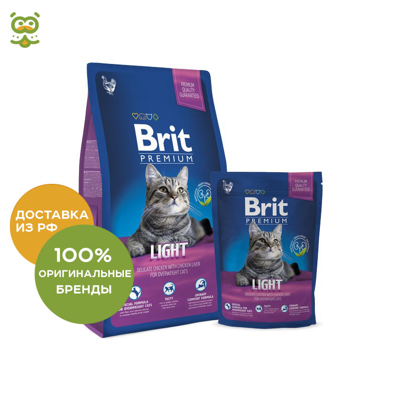 Cat food Brit Premium Cat Light for cats prone to overweight, Chicken and Liver, 300 g simulation animal large 36x25x10cm prone white