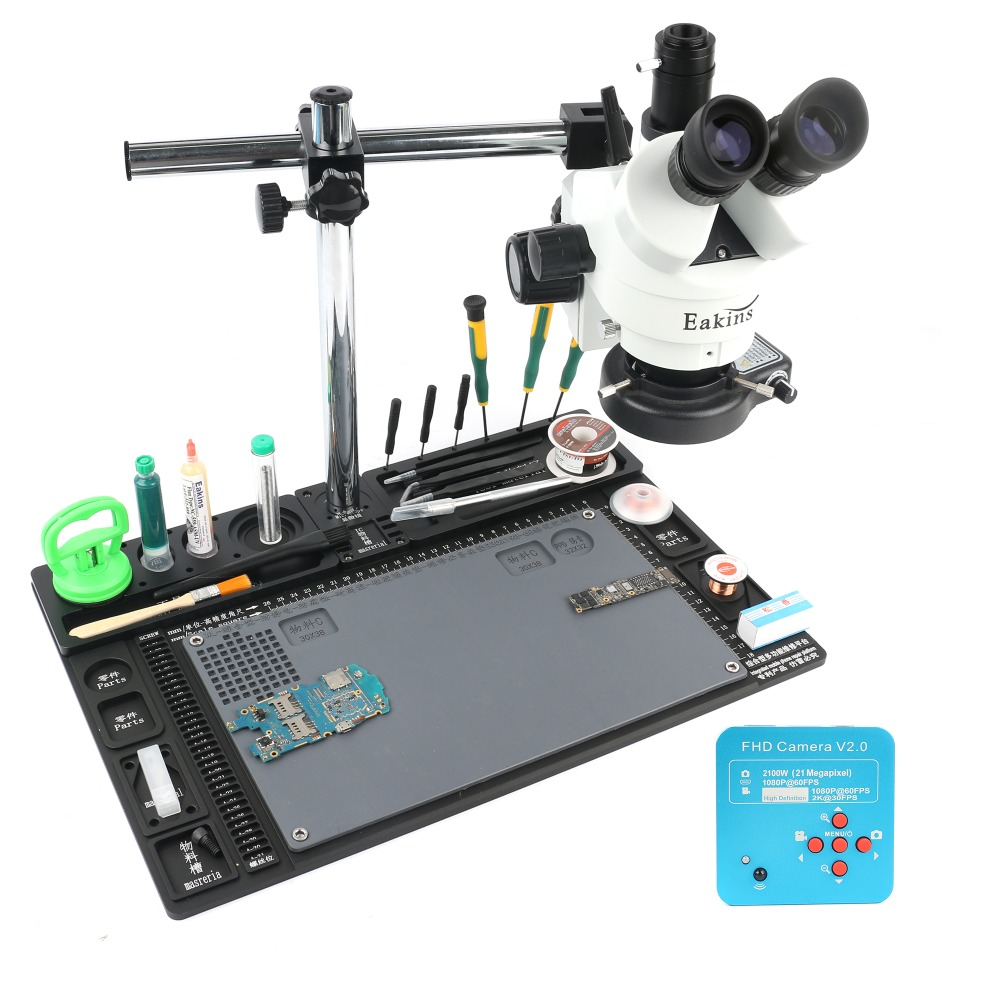 3.5-90X Simul-focal Trinoculaire Stéréo Microscopiques 21MP 2 k HDMI Microscope Caméra Unique Bras Rotatif Support Workbench stand