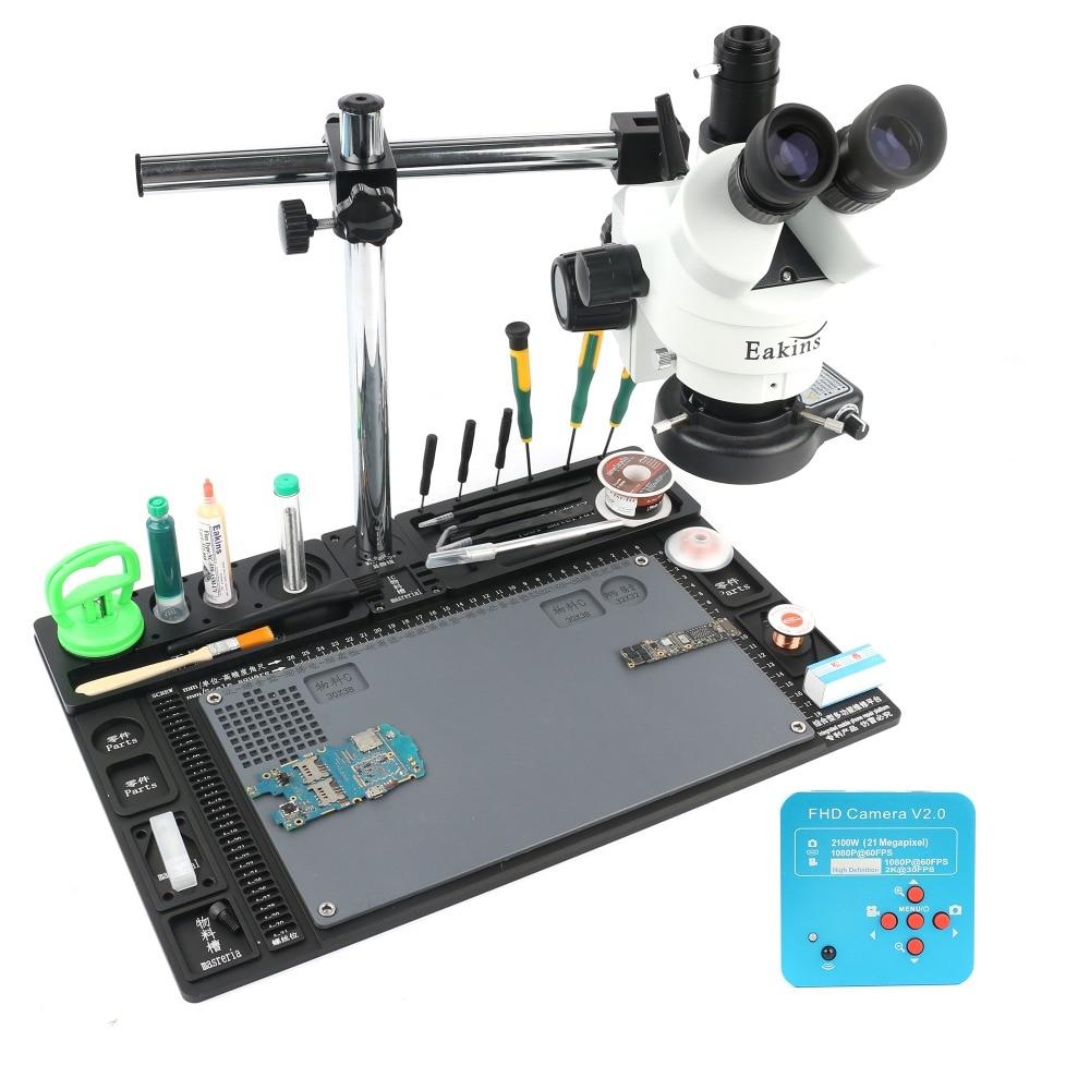 3.5-90X Simul-focale Trinoculare Stereo Microscop 21MP 2 k HDMI Macchina Fotografica del Microscopio Singolo Braccio Staffa Rotante Banco di Lavoro stand