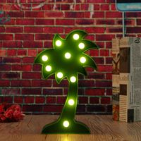 Plastic Coconut Tree Shape LED Lights Green Battery Operated Desktop Wall Hanging Lamp Wedding Gift Summer