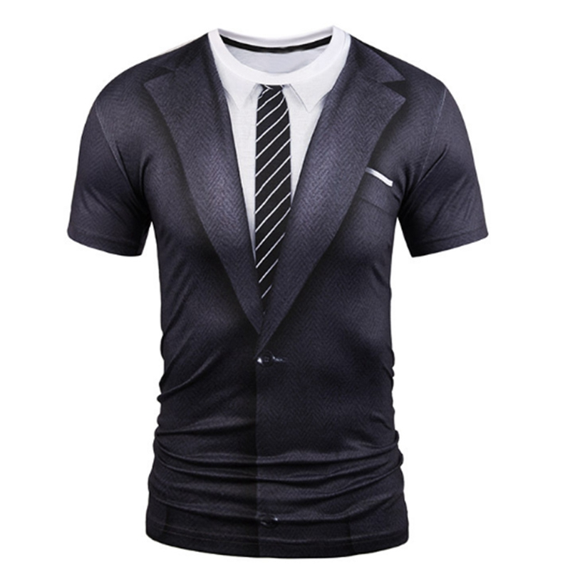 2018 Hot Sale 3D T Shirt Men Fake Two Pieces Male O-Neck Short Sleeve Casual Soft Tops Crossfit Compression Shirt Funny T Shirt