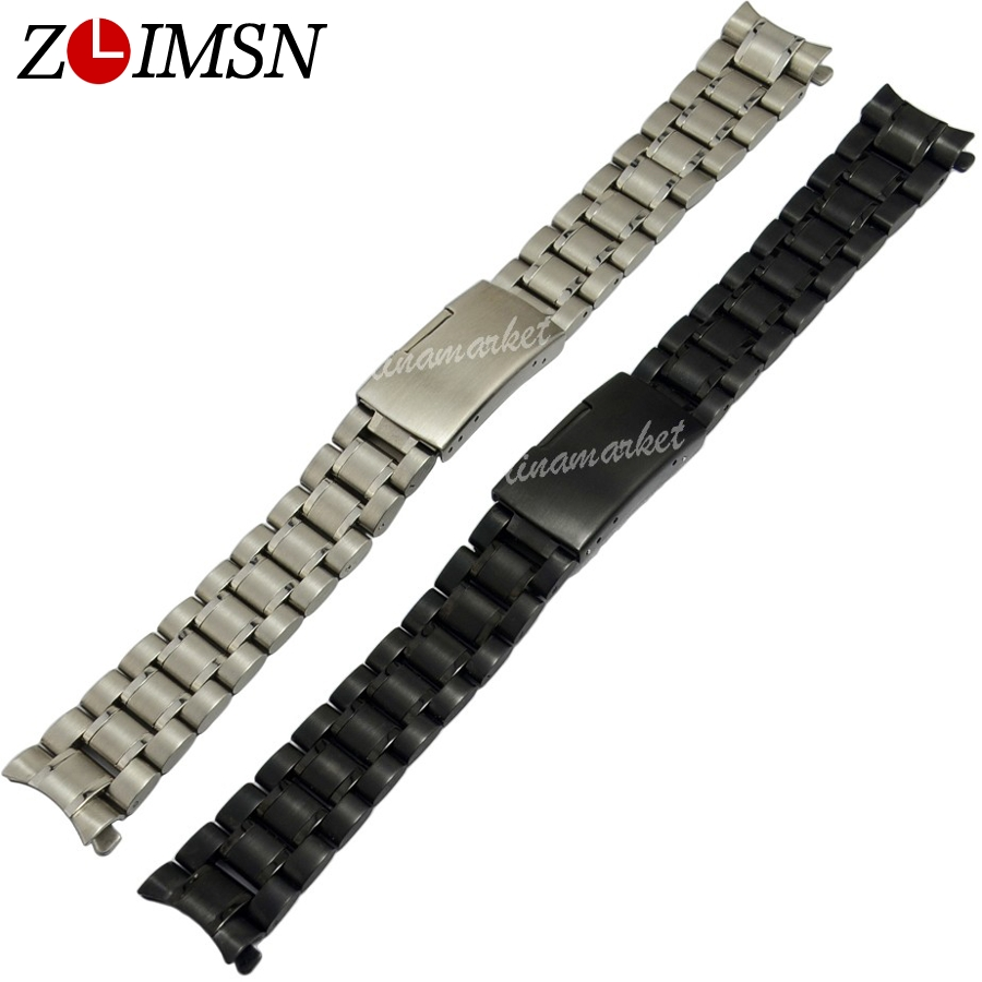 ZLIMSN 18 20 22 24mm Sliver Curved End Watchband Deployment Clasp Stainless Steel Watch Strap Replacement relogio masculino zlimsn silver bracelet solid stainless steel watchband 18 20 22 24mm luxury military metal band replacement relogio feminino s15