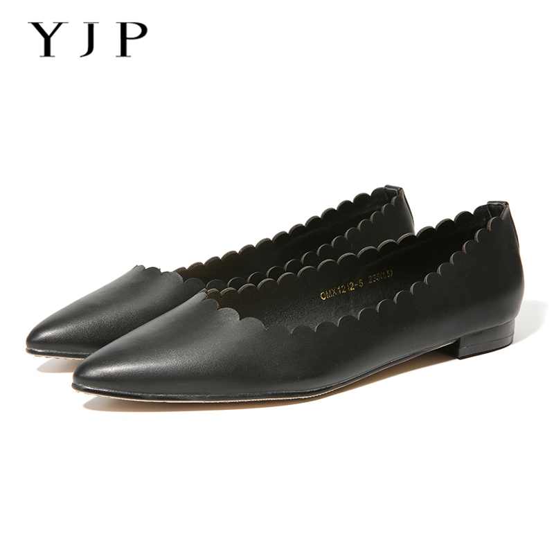 YJP Women Pointed Toe Ballet Flats, Black Shallow Mouth Wave Shape Flat Shoes, Ladies Soft Solid Casual Fashion Slip On Shoes 2017 summer new fashion sexy lace ladies flats shoes womens pointed toe shallow flats shoes black slip on casual loafers t033109
