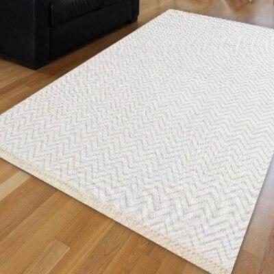 Else White Wave Bias Lines Geometric Scandinavian Ikat Nordec Anti Slip Kilim Washable Decorative Plain Paint Woven Carpet Rug
