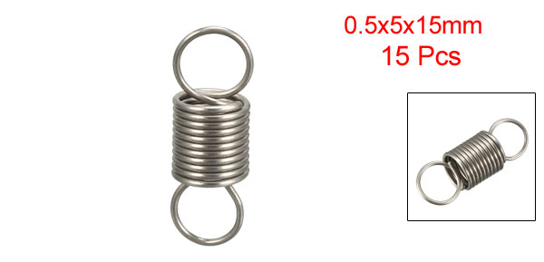 Free Length 0.59 inches Stainless Steel Small Dual Hook Tension Spring 5pcs OD 0.2 inches uxcell Extended Compressed Spring Wire Diameter 0.02 inches