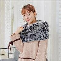 2019 Autumn Women Real Rex Rabbit Fur Shawl Knitted Ladies Knit Scarf Fur Warm Winter Female Scarves Fashion New Arrival Scarfs