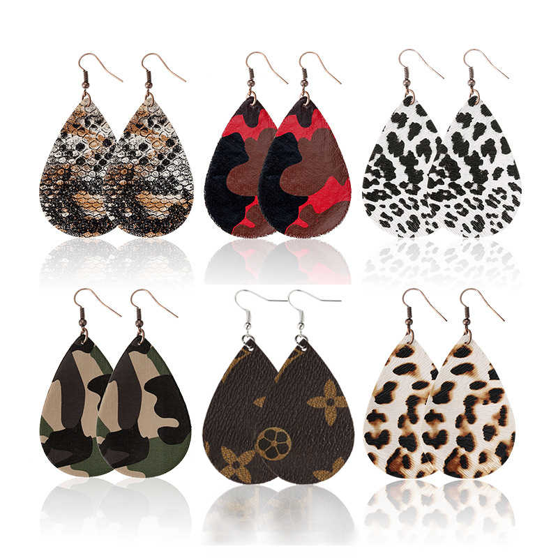 Floral Print Leopard Teardrop Leather Earrings Glitter Antique Lightweight Natural Texture Lattice Handmade Fashion