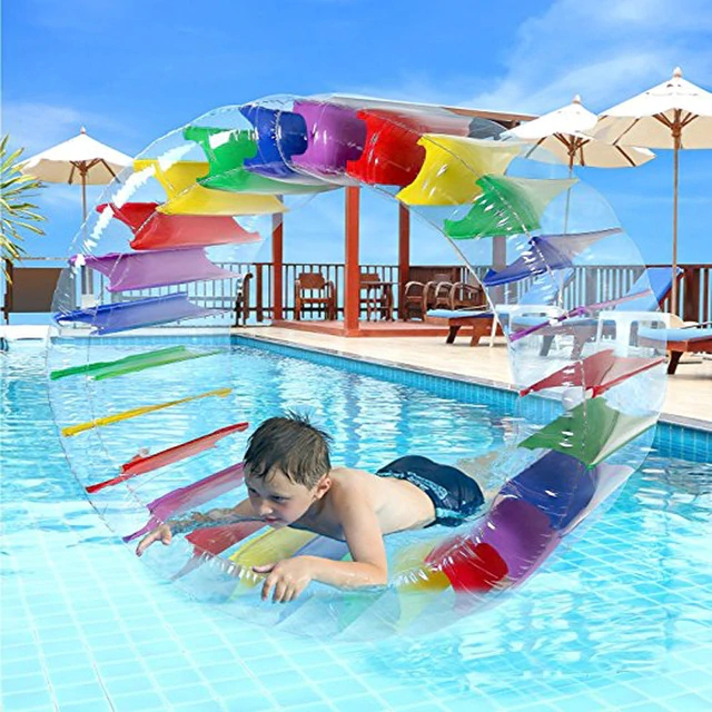 Rainbow Swimming Float Colorful 90CM Inflatable Water Wheel Roller Pool Float Party Beach Ball Water Fun Toy for Kids,HA109