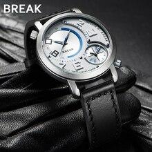 ブレーク男性デュアルタイムゾーンクォーツ腕時計革バンドスポーツクォーツスタイル防水ファッション時計のための