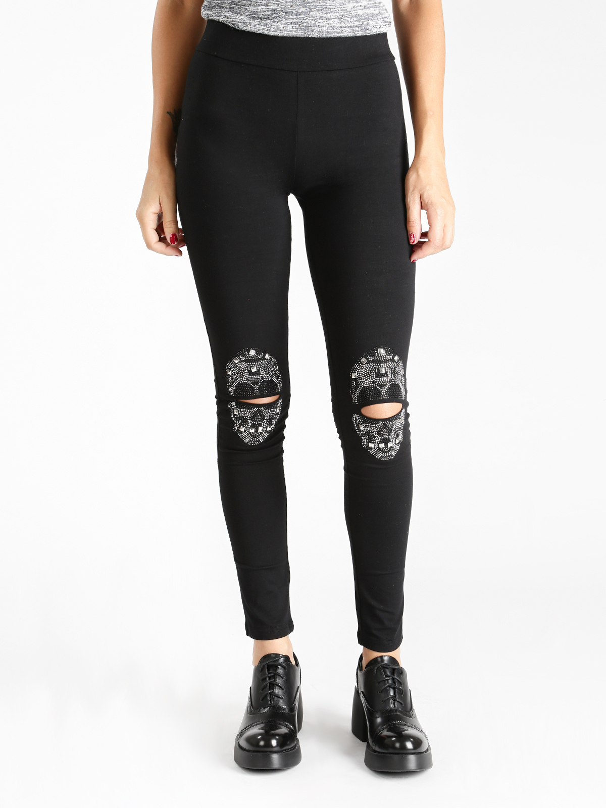 Leggings With Rhinestone And Stappi