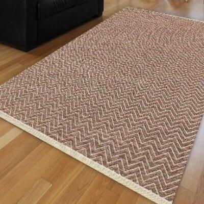 Else White Brown Wave Bias Lines Geometric Modern Anti Slip Kilim Washable Decorative Plain Paint Woven Carpet Rug