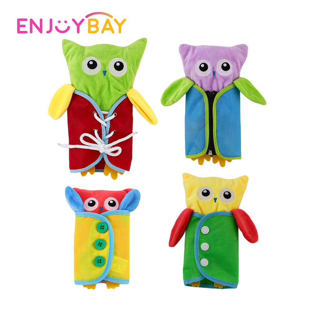 4pcs/set Owl Montessori Dressing Practice Toy Baby Montessori Dressing Frames Wear Clothes Study Animals Educational Toys