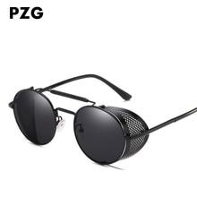 PZG Новая мода Punk Eyewear украшает мужские солнцезащитные очки Материал рамы из сплава Уникальные складные солнцезащитные очки для стимпанк