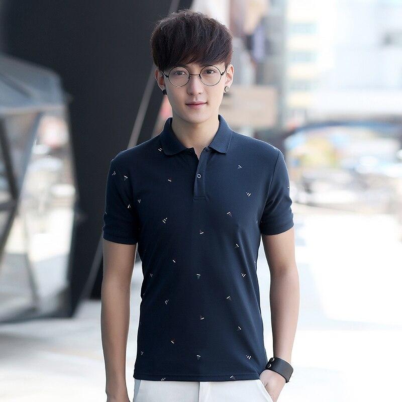 2018 г. Летняя мужская футболка с короткими рукавами с лацканами хан издание молодежи прилив пальто cultivate one's morality мужская рубашка поло Шир