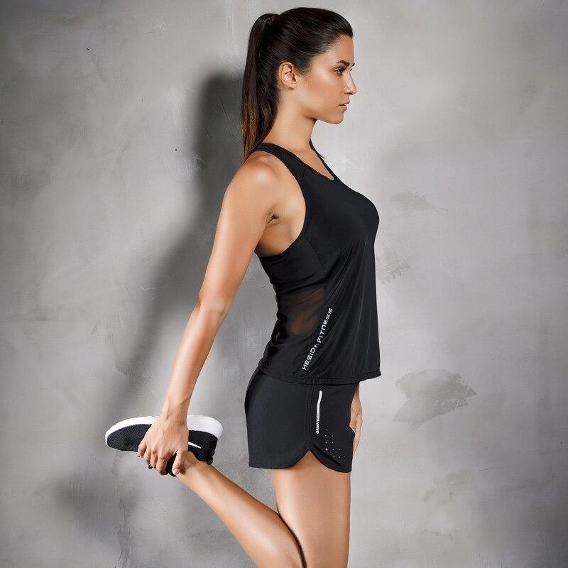 Women Tank Top & Short 2Pcs Set Mesh Yoga Fitness Running Gym Clothing Sleeveless Shirt Sports Singlet Vest Sportswear 2 Pieces