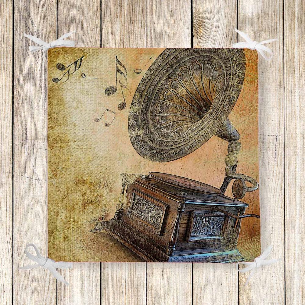 Else Brown Retro Music Notes Gramaphone Print Chair Pad Seat Cushion Soft Memory Foam Full Lenght Ties Non Slip Washable Zipper