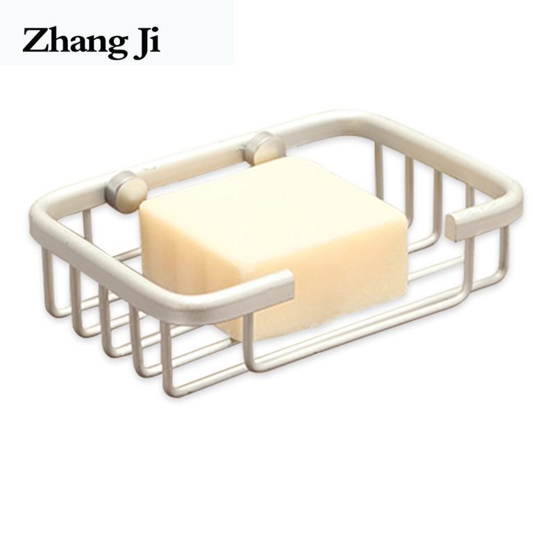 ZhangJi Alloy Soap Shelf Bathroom Shower Soap Holder Container Kitchen Sink Sponge Box Stainless Bathroom Accessory Soap Box draining soap holder with sponge