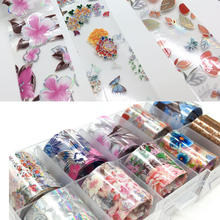 10 Designs 10pcs Holographic Flower Nail Foil Decal Art Paper/Floral Prints Decoration Wrap Transfer Sticker