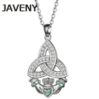 925 Sterling Silver Jewelry Green CZ Cubic Zirconia Irish Keltic Knot Claddagh Women Wedding Pendant Necklaces Birthday Gifts