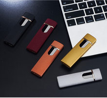 Turbo Tungsten USB Lighter Free Laser Logo Touch-senstive Switch Electronic Plasma Lighter Super Thin Cigarette Lighter(China)