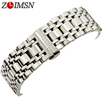 Silver Watchbands Wristwatch Strap Replacement Bracelet Stainless Steel Buckle Fashionable Watch Bands Relojes Hombre 18mm 22mm