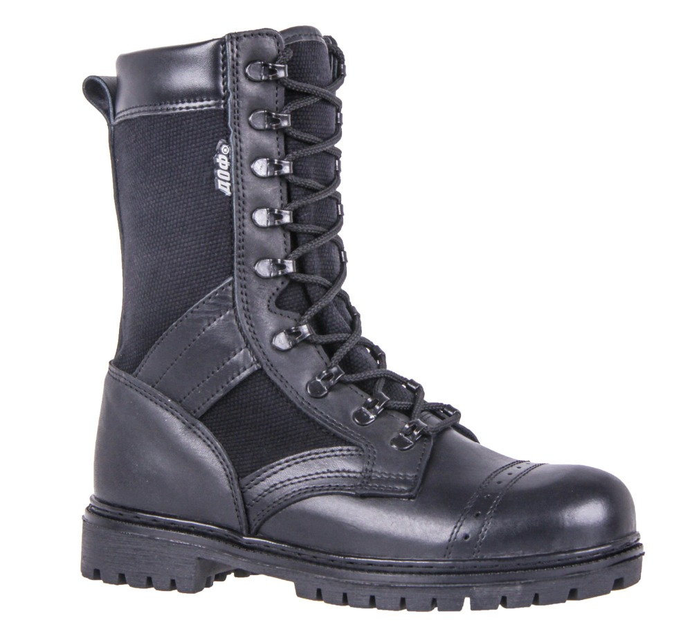 genuine leather lace-up black ankle boots men high shoes flat military boots made in Russia 5001/2 WA