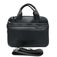 Men's leather Portable Briefcase Lightweight Thin handbag Business Office Tote Black Classic Briefcase made of PU Men's Gift