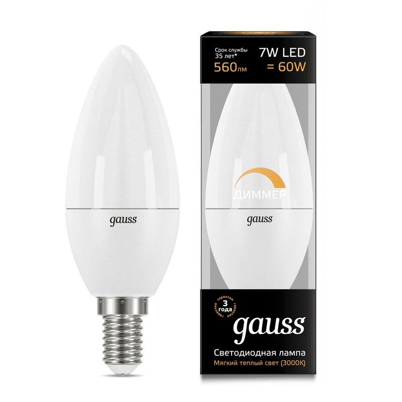 Лампа светодиодная свеча Gauss LED Candle dim E14 7W 3000К 4100К диммируемая 103101107 D 103101207 D - 2