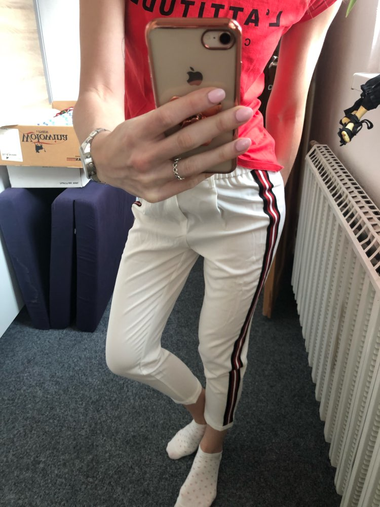 Women Elegant Side Stripe Pants Elastic Waist Ladies Autumn Casual Active Wear Fashion Ankle Length Trousers Mujer photo review