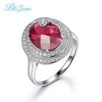L & zuan 925 Anéis de Prata Esterlina Para A Mulher clássica 6.59ct Vermelho Rubi Pedra Romântico Luxo Fine jewelry presente de aniversário