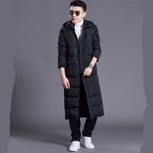 Hooded Extra Long 90% Duck Down Overcoat Men Casual Winter Outwear Down Jacket Male Thick Down Coat Fashion Puffer Jacket JK-785 стоимость