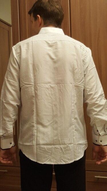 2018 Для мужчин модные Повседневное Длинные рукава рубашка с принтом Slim Fit мужской социальной платье в деловом стиле брендовые Для мужчин Костюмы мягкие удобные