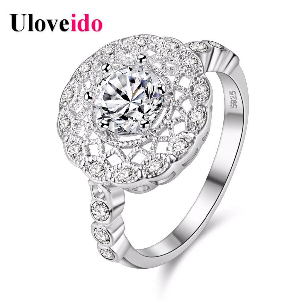 uloveido vintage rings for women silver color engagement ring large hollow flower jewellery zircon bague christmas - Large Wedding Rings
