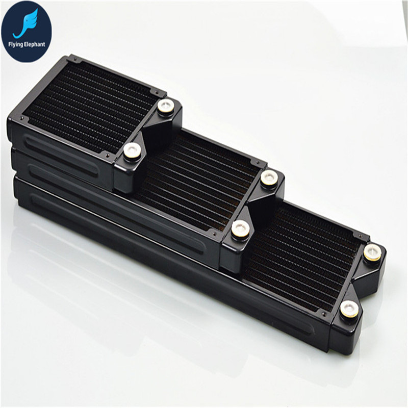 120/240/360/480mm*27mm Full Copper Radiator Computer Water Cooled Row black Heat Exchanger for PC water cooling 280 water cooled copper liquid cooled heat exchanger radiator water cooling pc