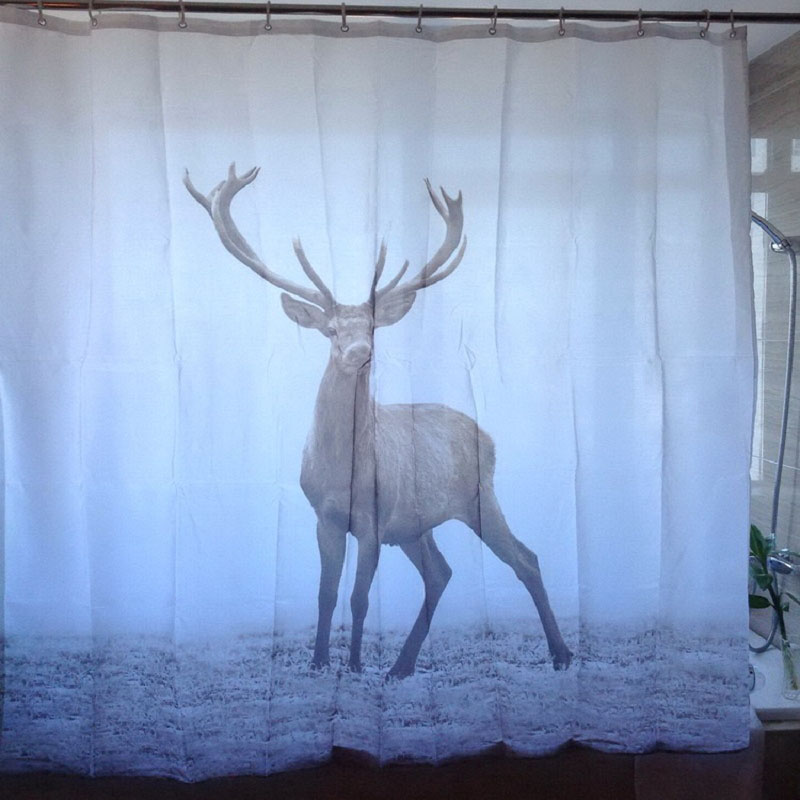 New 180x180cm Animal Deer Shower Curtains Waterproof Polyester Fabric  Bathroom Curtain With 12 Hooks(China