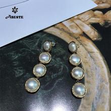Женские серьги подвески ручной работы ani золотые длинные с