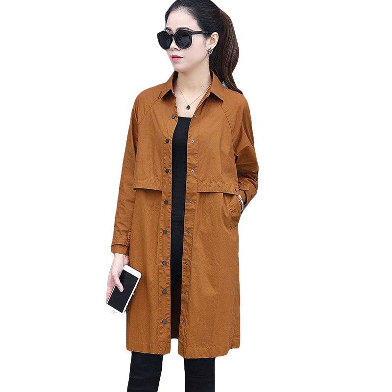 Women Spring Autumn   Trench   Coat 2018 Fashion Streetwear Casual Windbreaker Women Turn-down Collar Loose Thin Female Coat CM2711